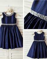Wholesale Taffeta Baptism Dresses - 2016 Navy Blue Sequin Taffeta Flower Girl Dress Curly Hem Wedding Easter Junior Bridesmaid Baptism Baby Infant A-line Knee-length Dress