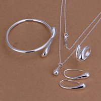 Wholesale Wholesale Sterling Silver Chains Bulk - 2016 Bulk ON Sale Luxury Bridal Party Wedding Jewelry Sets Water Drop Necklace Ring Earing Bracelet New Fashion Jewelry Gift Free Shipping