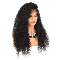 черные парики красоты оптовых-Парики фронта шнурка Kinky Curly humanhair 150% Плотность Бразильские отбеливающие узлы Необработанные парики из натуральных волос для полных париков для чернокожих женщин beauty Qtfn