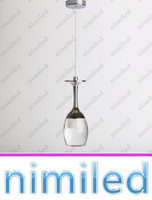 Wholesale Wholesale Glass Pendant Lights - nimi745 Indoor Lighting Acrylic LED Pendant Lamp Bar Dining Room Lamp LED Light Chandeliers 3W Wine Glass Shape Brief Christmas Lights