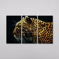 Wholesale leopard print home decor - Unstretched Home Decoration Animal Painting of Leopard Cheetah Decor Picture 3 Panel Wall Art Painting for Living Room Dropship