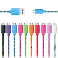 Wholesale Chinese Micro Pc - 1M 2M 3M Braided Wire Micro USB Cable USB Data Sync Fabric Woven Charger Cable for Smart Phone & tablet PC