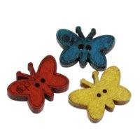 Wholesale Buttons Sewing 23mm - 100PCs Wood Sewing Buttons Butterfly-Shaped Mixed 23mm x17mm M66933 Buttons Cheap Buttons