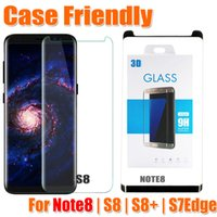 Wholesale Glass Screen Phones - Note8 S8 case version 3d curved glass For samsung galaxy S8 S8 Plus note 8 case friendly 3D tempered glass phone screen protector
