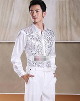 Wholesale Elegant Men S Shirts - The new fashionable pure color elegant noble men party paillette shirt formal occasions the groom lapel single-breasted shirt