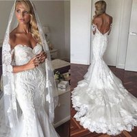Wholesale New Sexy Sweetheart Lace Stunning - 2017 New Stunning Off the Shoulder Sweetheart Mermaid Wedding Dresses Lace Appliques Long Sexy Back Bridal Gowns vestido de noiva