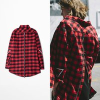 Wholesale Cut Shirt Styles - New Fashion LA Red Plaid Shirts Long Sleeve Men Shirts Back Zipper Arc Cut Oversize Style GD Rap Shirt