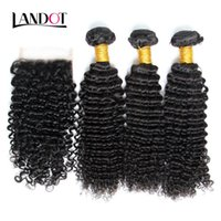 Wholesale Mixed Length Virgin Cambodian - 3 Bundles Cambodian Curly Virgin Human Hair Weaves With Closure Unprocessed Cambodian Deep Kinky Curly Hair And Lace Closures Natural Color