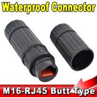 Wholesale Lan Connector Socket - Wholesale- Waterproof M16 IP68 Ethernet Network LAN Cable RJ45 Female to Female Connector Adapter Plug Socket Waterproof Connector