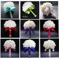 Wholesale Crystals Cheap - Best Ivory New Bridesmaid Wedding Decoration Foamflowers Rose Bridal bouquet White Satin Romantic Wedding bouquet Cheap Price