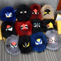 Wholesale Bugs Keychain - 2017 New Real Fur Monster Bag Bugs Charm Studded Rivets eyes Car Keychain Ring
