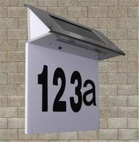 Wholesale Number Indicator - 4 LEDs Solar Street Light Door Wall Doorplate Plaque Light Bright Indicator Plate Lamp Steel+ABS House Number Lampada