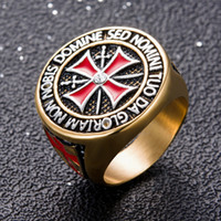 Wholesale Ring Size 15 - Punk Rock Crusader Cross Stainless Steel Rings for Men - Knight Templar Christian Holy Cross Ring Male Jewelry (US Size 8-15)