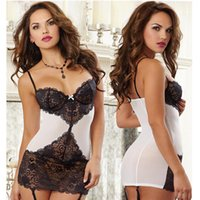 Wholesale Hottest Lingerie Suit - High quality sexy lingerie hot black white sexy lace Splice lenceria sexy chemise sex products erotic lingerie sexy costume