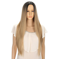 Wholesale 26 inch straight wigs - Synthetic Wigs For Women Straight Ombre Wig Cosplay Blonde High Temperature Feiber Hair 26 inches