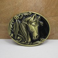 Wholesale Antique Western Bronze - BuckleHome horse belt buckle western belt buckle with pewter finish and antique brass finish FP02209-1 with continous stock free shipping