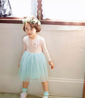 Wholesale Girls Fashion Clothes Wholesale Korea - 2017 Autumn New Korea Style Girls Princess Dresses fashion long sleeve Sweet Gauze Dress Children Clothing 3-8T E15013