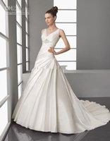Wholesale Cummerbunds Beads - 2016 Sexy A-Line Lace And Tulle Sheer V Neckline And Chiffon Cummerbund Backless Custom Made Bridal Gown Wedding Dresses