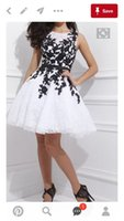 Wholesale Graduation Dresses For College - Cheap Short Homecoming Dresses White and Black jewel Lace Belt Beaded Tulle Gowns for Prom Cocktail 8th College Graduation Dress