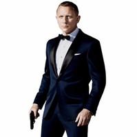 pantalón de abrigo azul oscuro al por mayor-Traje Homme Mariage Dark Blue Men Suits Último Escudo Pant Designs Inspirado por Traje Usado En James Bond Traje de Boda Para Hombres