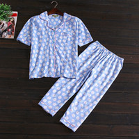 Wholesale Women Cotton Nightdress - New summer Light blue owl nightdress pajamas for women Pyjamas Set plus size Sleepwear cotton plus size breathable whole sale BY21