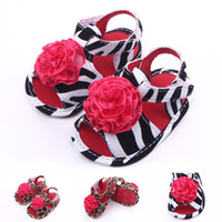 Wholesale Girls Sandals Size 12 - New Arrival Baby Girl Sandals Leopard & Stripe Big Red Flower on Upper Narrow Welt Toe Protection