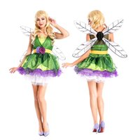 Wholesale Wings For Adult Costume - adult halloween costume elf costume party costume for women elf makeup including dress + wings