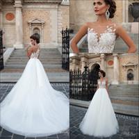 Wholesale See Through Wedding Dress Designer - 2016 Naviblue Romantic A-line Wedding Dresses Sheer Crew Neck Lace Appliques Button Back See Through Back Button Back Designer Bridal Gowns
