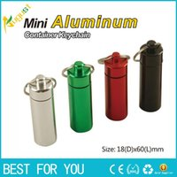 Wholesale Waterproof Pill Cases - Portable Stash Pill box case medicine 18*60mm Storage Keychain Bottle Keyring Key Ring metal Aluminum Waterproof Pill Bottle Container