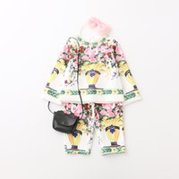 Wholesale Korean Floral Pants Wholesale - Everweekend Baby Girls Korean Style Print Flowers Tops and Long Pants Outfits Children 2pcs Floral Outfits Autumn Girls Sets