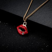 Wholesale Rhinestone Lips Charms - Hot Sale Wholesale Coat Chain Red Lip Charm Pendant Necklaces Romantic Luxury Brand New Fashion Popular Jewelry Free Shipping