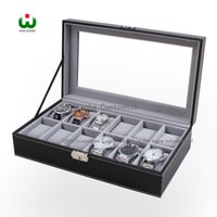 Wanhe Packaging Boxes Factory Professional Supply 12 Grids Slot Watch Box Exhibidor Organizador Glass Top Jewelry Storage ORGANIZER BOX BLACK