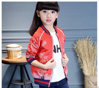 Wholesale Girls Coats For Sale - Hot sale 2016 fall Flower embroidered bomber jacket outerwear green jackets for girl kids flight coats Retro Style clothing