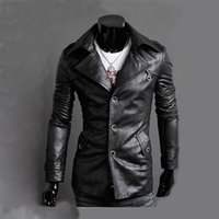 Wholesale Men Strip Clothes - Locomotive PU Jacket Men Brand Clothing Men's Leather Outwear Retro Veste Homme Coat Chaqueta England Fashion Slim Jacket XXL