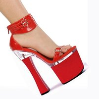 Wholesale High Comfortable Platform Wedding Shoes - Elegant Red Ankle Strap With Fashion Comfortable Thick Heel Sandals 18cm High-Heeled Shoes 7 Inch Platforms Shoes Wedding Shoes