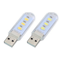 Wholesale Touch Switches China - DHL 400Pcs Lot Portable Mini White U-Disk Shape LED Light with Touch Switch, USB Light, Desk Light, Night Reading