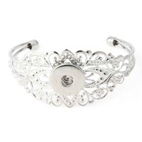 Wholesale gray metal south - vintage noosa chunk flower shape snap button metal alloy bracelet