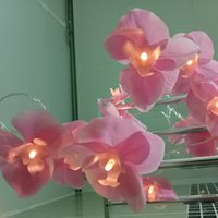 Wholesale Orchid Led - Wholesale- Battery Novelty Blossom orchid Flower Fairy String Lights 4M 20 LEDs Holiday Lighting,Wedding Party Decoration,Mirror light