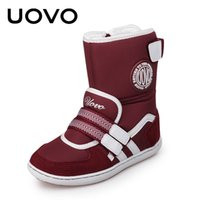 Wholesale Hot Boots For Girls - HOT UOVO brand winter children shoes girl and boy boots water-proof oxford cloth kids snow boots plush shoes for 6-14 years old