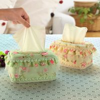 Wholesale Paper Lace Roll - Wholesale- European-style garden storage box lace romantic of household car napkin paper tissue box sitting room cloth art tissue box