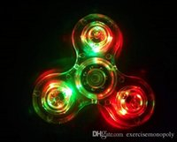 Wholesale Cheap Led Finger Toy - New Wholesale cheap Light up Hand Spinners LED Bright Fidget Spinner Triangle Finger Spinner Transparent Crystal Colorful Decompression Toys