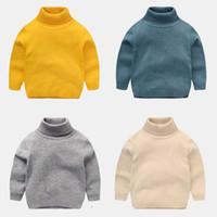 gola alta de algodão para crianças venda por atacado-Crianças dos miúdos Camisolas de Inverno 2017 Casual Gola de Malha Blusas Para Meninas Quentes Menino Blusas De Algodão Meninas Cardigan Roupas