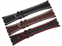 Wholesale Leather Tools Handmade - Hot Handmade 28 mm Black Red   White Line  Brown White Line Genuine Leather Strap for fit for Audemars Piguet + Tool (No Clasp)