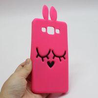 Wholesale Cartoon Galaxy S Cases - 3D Cartoon Bunny Back Cover Case For Samsung Galaxy Core 2 Core2 Grand Prime Duos Neo S Duos J1 ACE J1 MINI J5 J500 A500 Rabbit Silicon Case