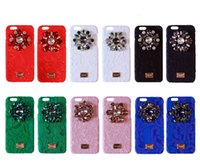 Wholesale Iphone Case Luxury Lace - Luxury DG Rainbow Lace Frabric Crystal Diamond Flowers Case For iPhone 6 6s Bling Rhinestone Cover For iPhone 6 Plus 6s Plus