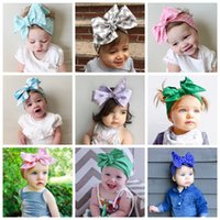 Wholesale toddler headbands big flowers - 2016 baby fashion cute hair bands big bowknot design pure color dot printed flower pattern toddler headbands elastic headband 19styles