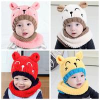 pescoço chapéu de malha pescoço venda por atacado-Inverno Do Bebê Chapéu e Cachecol Bonito 3D Cat Crochet Malha Caps para Meninos Infantis Meninas Crianças Crianças Neck Warmer