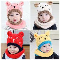 jungen nacken schals großhandel-Winter-Baby-Hut und Schal Nette 3D-Katze häkeln gestrickte Mützen für Infant Boys Mädchen Kinder Kinder Nackenwärmer