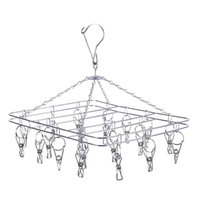 Wholesale metal trouser hangers wholesale - Durable 2.5mm Clotheshorse Square Metal Stainless Steel Clothes Rack Wind Proof Non Slip Hanger For Home 6 9fw B R