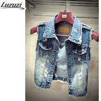 Wholesale Womens Short Denim Jackets - Wholesale-Plus Size Denim Vest For Women Waistcoat Womens Autumn Sleeveless Summer Woman Vest Jacket YY331